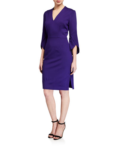 Ponte V-Neck Slit-Sleeve Sheath Dress