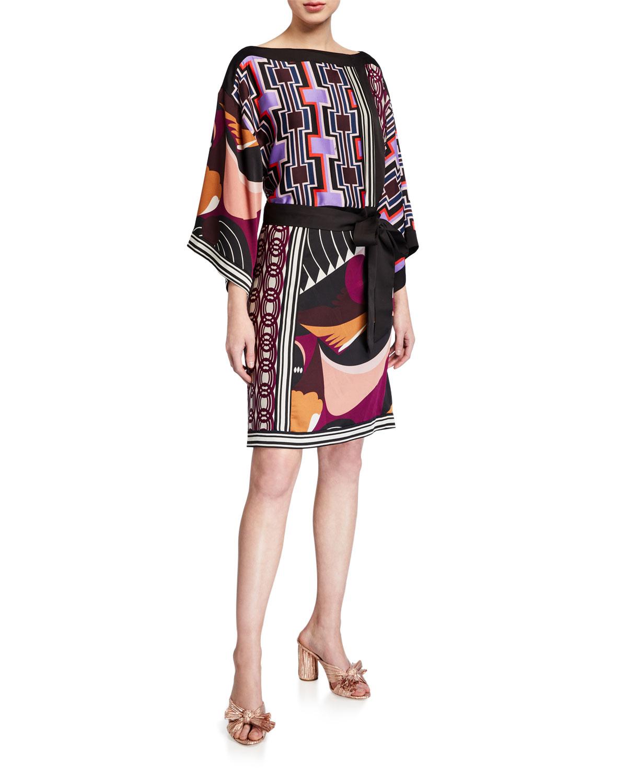 Trina Turk Dresses MIXED-PRINT KIMONO STYLE DRESS