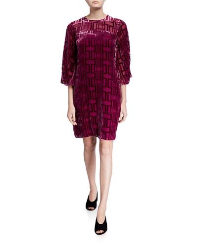 Burnout Velvet Shift Dress with Illusion Neckline