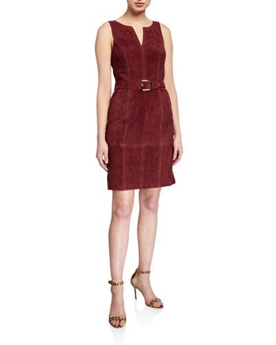 Suede Belted Jumper Dress