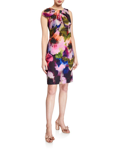 Sleeveless Floral Printed Smoothie Shift Dress w/ Bow Detail