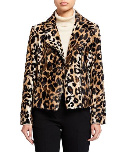 Faux Leopard Moto Jacket