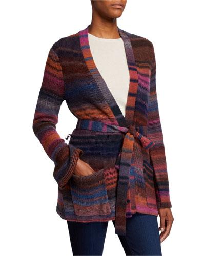 Multi Striped Belted Sweater Jacket