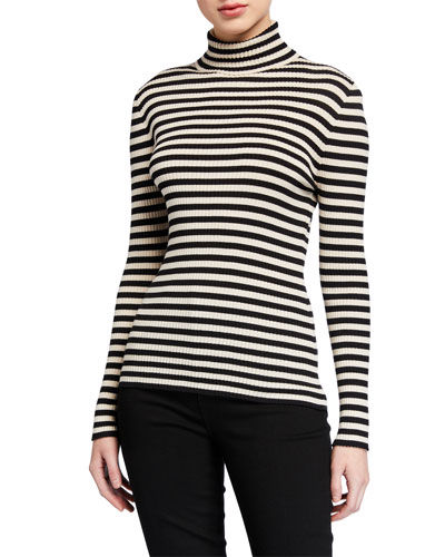 Striped Ribbed Turtleneck Sweater