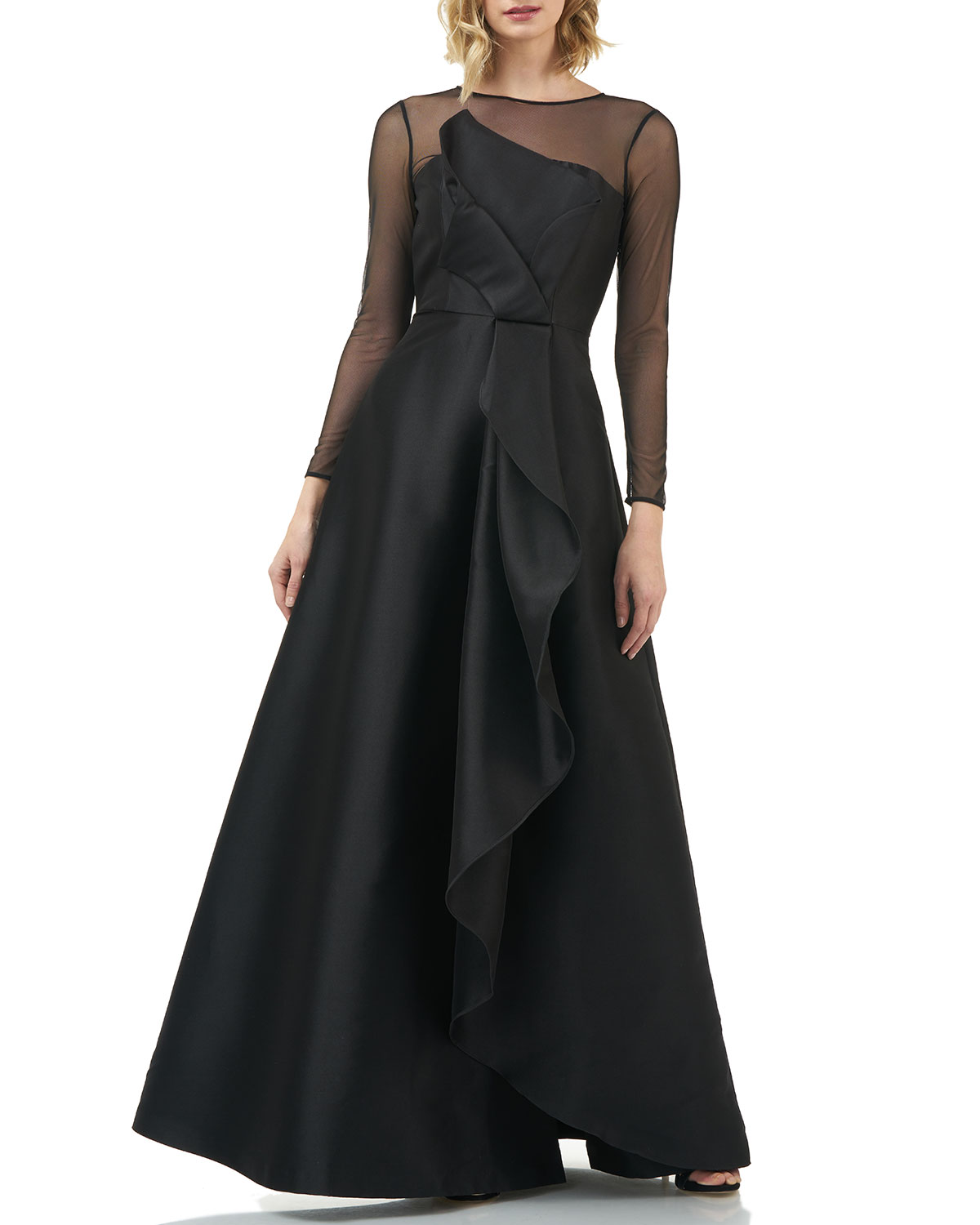 Kay Unger Tops ADELE ILLUSION SLEEVE MIKADO A-LINE GOWN W/ CASCADING RUFFLE DETAIL