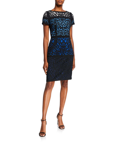 Shani Ombre Laser Cut Short-Sleeve Sheath Dress