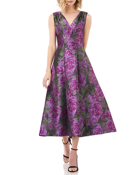 Kay Unger New York Lena Floral Jacquard V-Neck Sleeveless Midi Dress