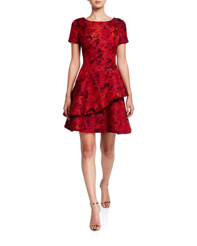 Short-Sleeve Two Tiered Jacquard Cocktail Dress
