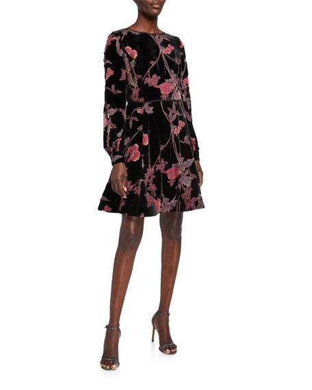 Shani Floral Burnout Velvet Long-Sleeve Fit-and-Flare Dress