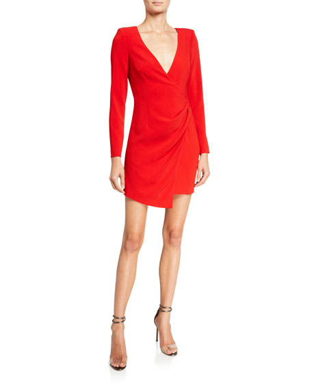 Likely Dani Draped Strong-Shoulder Cocktail Dress