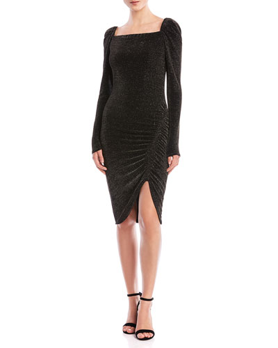 Ariana Ruched Metallic Square-Neck Dress