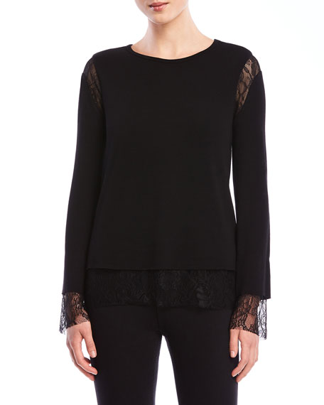 Bailey 44 Isabel Lace Inset Long-Sleeve Top