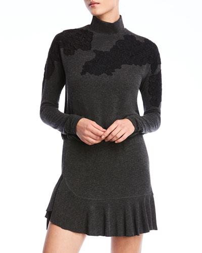 Pippa Long-Sleeve Applique Flounce Dress