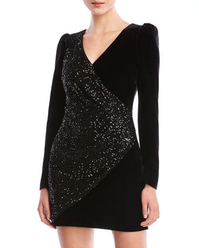Selby Sequined Velvet Long-Sleeve Cocktail Dress