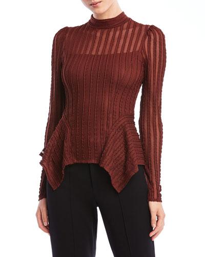 Eleanor Long-Sleeve Peplum High-Neck Top