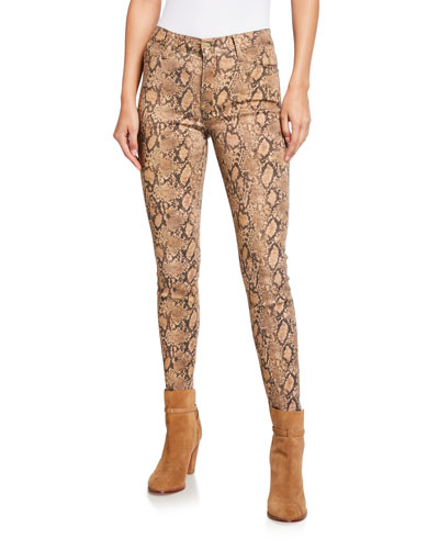 Le High Skinny Cropped Python Coated Jeans