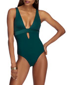 JETS by Jessika Allen Solid Plunge One-Piece Swimsuit