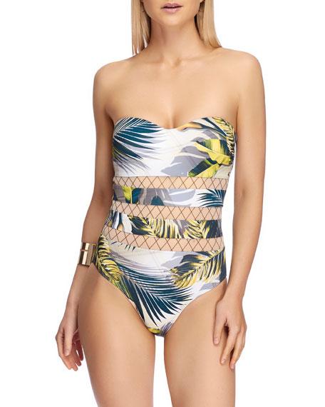 JETS by Jessika Allen Bandeau Palm Leaf-Print One-Piece Swimsuit