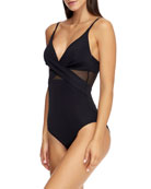 JETS by Jessika Allen Cross-Front One-Piece Swimsuit