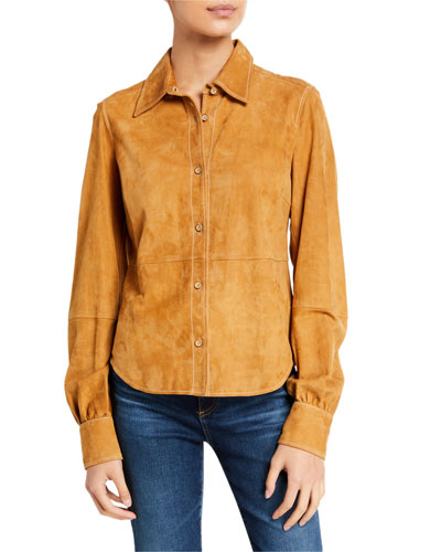 70s Suede Button-Down Shirt