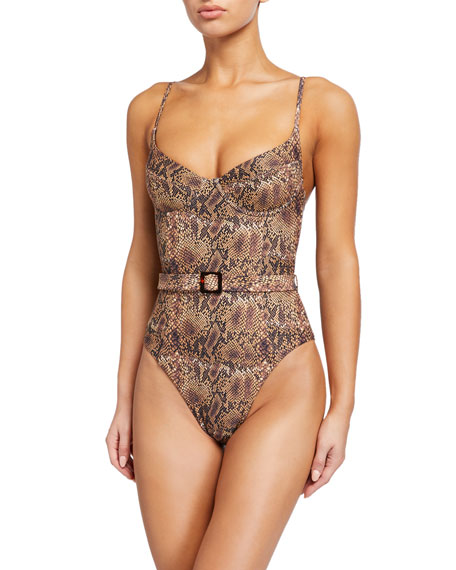 WeWoreWhat Danielle Belted Python-Print One-Piece Swimsuit