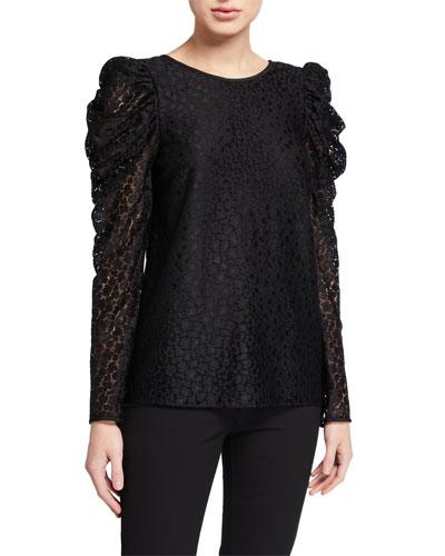 flora leopard lace long-sleeve blouse