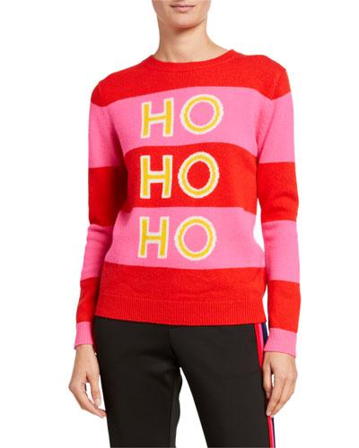 Ho Ho Ho Striped Wool-Cashmere Holiday Sweater
