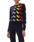 Chinti And Parker Chevron Wool-Blend Sweater w/ Star