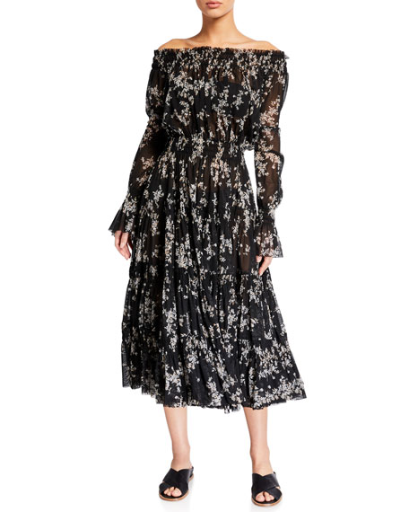 Norma Kamali Tiered Off-Shoulder Floral Peasant Dress