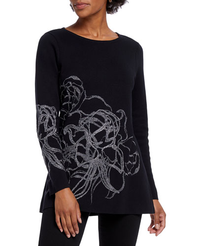 Petite Blossom Long-Sleeve Top w/ Abstract Metallic Detail