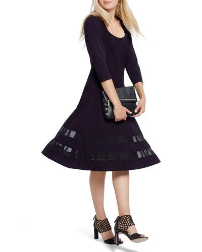 Charming Twirl 3/4-Sleeve Ponte Dress