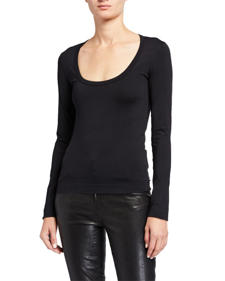 Helmut Lang Scoop-Neck Long-Sleeve Sweatshirt