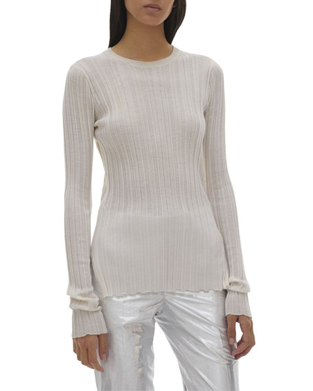 Helmut Lang Crewneck Long-Sleeve Rib Top