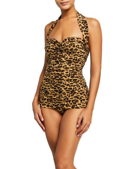 Norma Kamali Bill Mio Leopard One-Piece Swimsuit