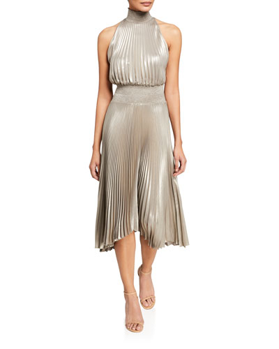 Renzo Halter-Neck Plisse Dress