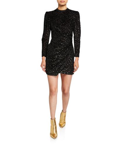 Jane Metallic Velvet Burnout Mini Dress