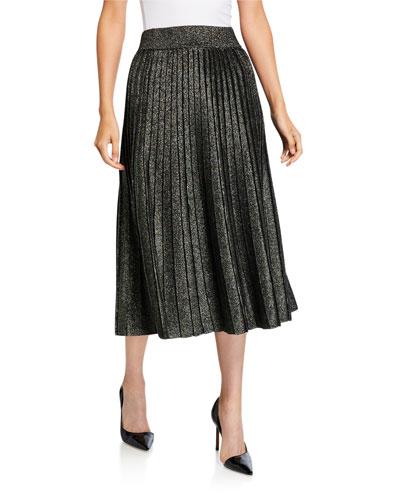 Nevada Metallic Pleated Midi Skirt