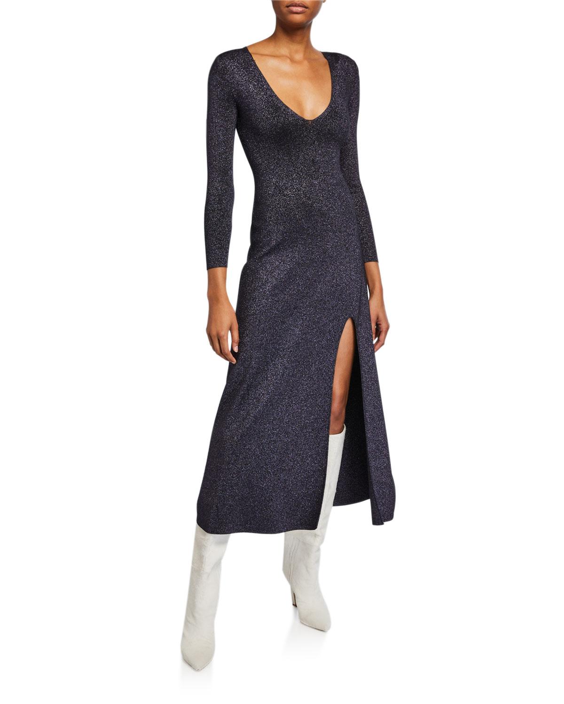 A.l.c Dresses SERAFINA STRONG-SHOULDER SPLIT METALLIC DRESS