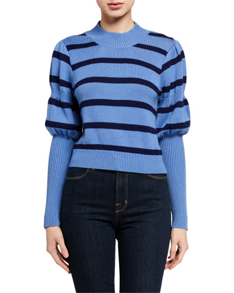 Derek Lam 10 Crosby Elanie Striped Puff-Sleeve Sweater