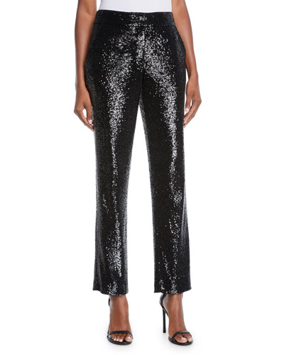 Hanson Sequined Straight-Leg Pants