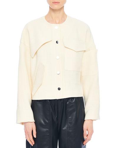 Basketweave Patch-Detail Short Jacket