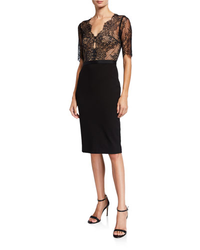 Soft Scallop Lace & Ponte Sheath Dress