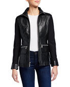 Anatomie Edith Leather Front Jacket w/ Knit Sleeves