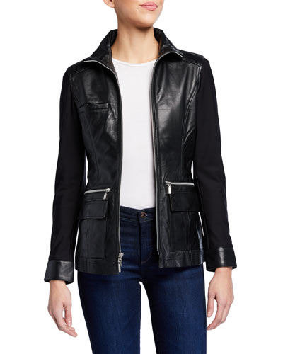 Edith Leather Front Jacket w/ Knit Sleeves & Back