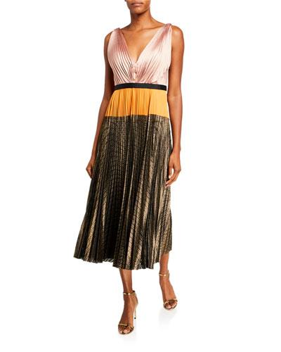 Colorblock Sleeveless Pleated Midi Dress w/ Metallic Skirt