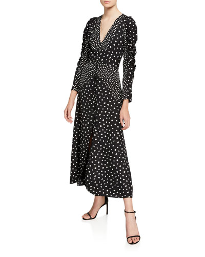 Nova Dot Jacquard V-Neck Dress