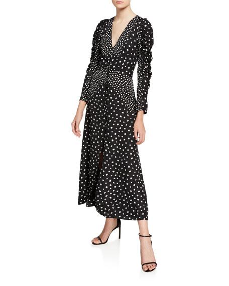 Rebecca Taylor Nova Dot Jacquard V-Neck Dress