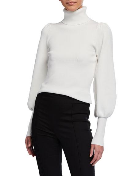 A.L.C. Karla Blouson-Sleeve Turtleneck Sweater