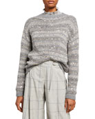 Lafayette 148 New York Striped Embellished Hand Knit