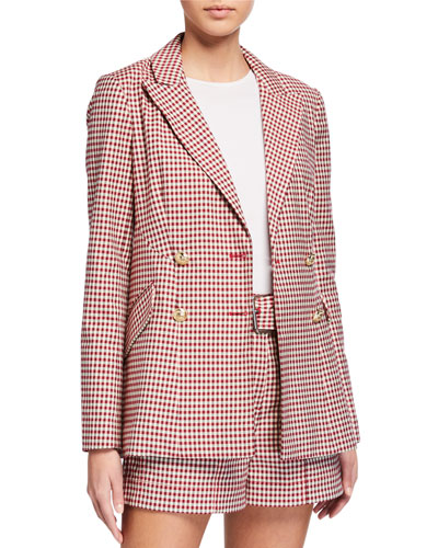Rodeo Double-Breasted Gingham Blazer